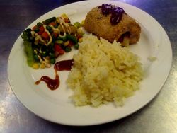 Chicken Cordon Bleu, sweet rice, vegetable medley with a light chipotle sauce