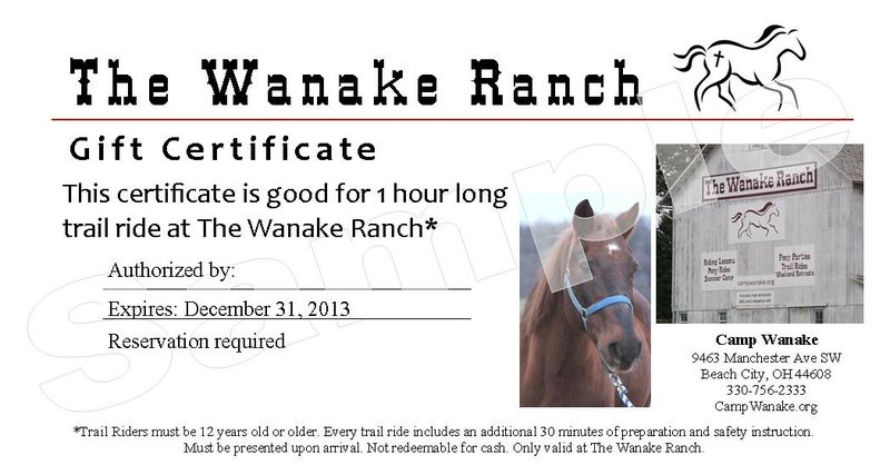 Trail Ride Gift Certificate for Online Publicity