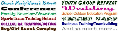 Church Groups, Conferences, Outdoor Ed