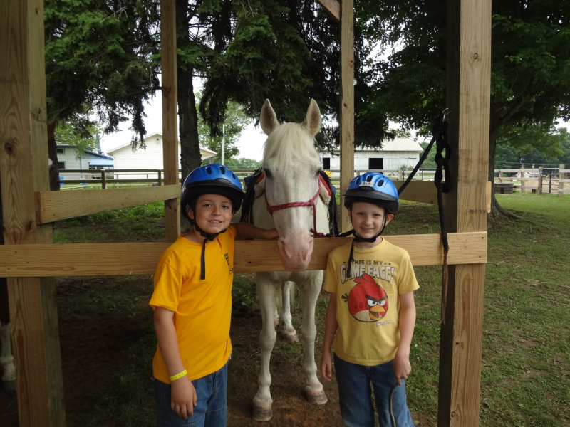 H boys with a horse