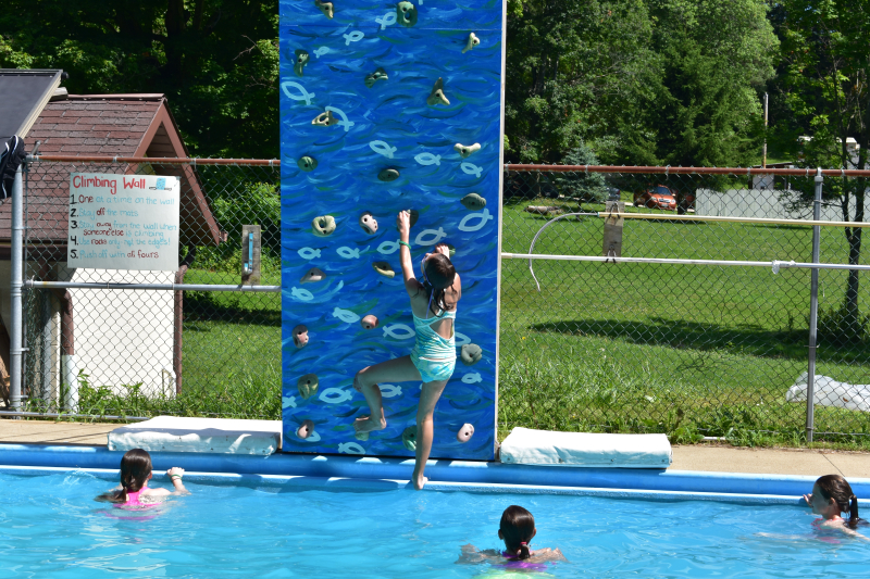 Pool diving board with friends