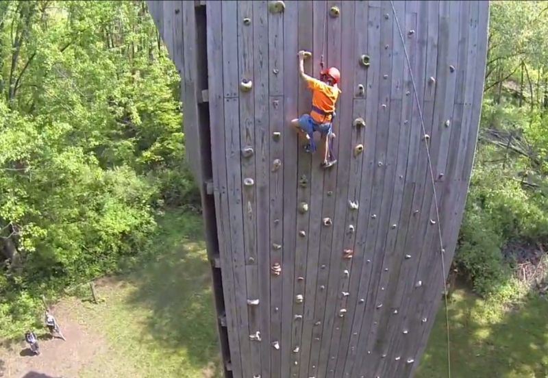 Rock climbing on the tower